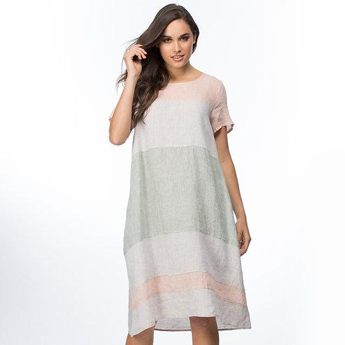 MULTI CONTRAST SPLICED DRESS