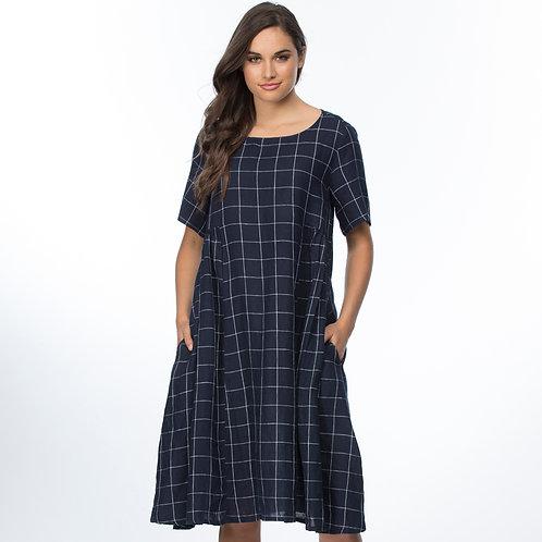 SIDE GATHERED CHECK DRESS