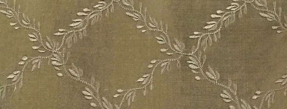 Taupe Silk Embroidered Diamonds