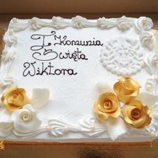 Prostokątny tort komunijny.