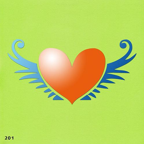 201 שבלונה לב עם כנפיים