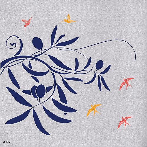 446 שבלונה ענפי זית וציפורים
