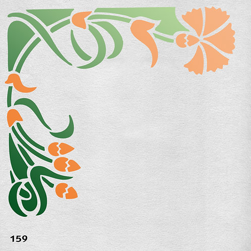 159 שבלונה פרחים - מבנה פינתי בסגנון ארט דקו