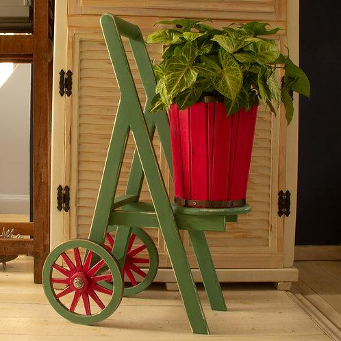 3701002 עגלת פרחים בעלת גלגלי עץ