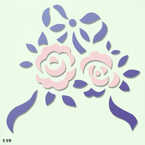 119 שבלונה פרחים - זוג ורדים