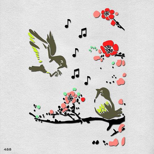 488 שבלונה זוג ציפורים מזמרות