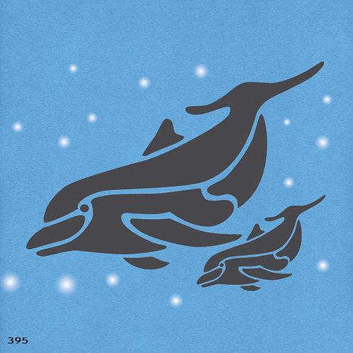 395 שבלונה דולפינה ודולפין תינוק