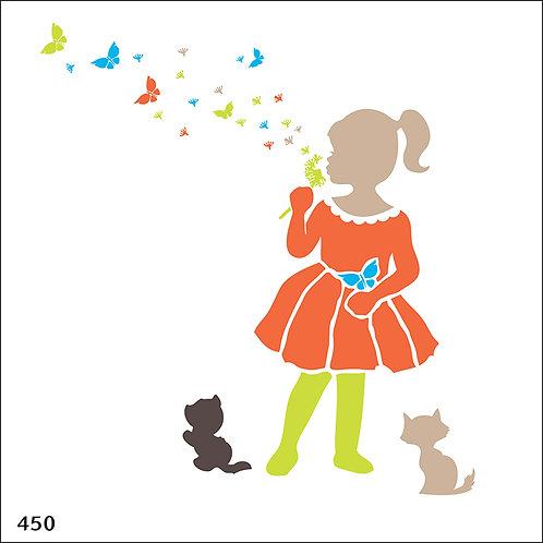 450 שבלונה ילדה עם פרפרים