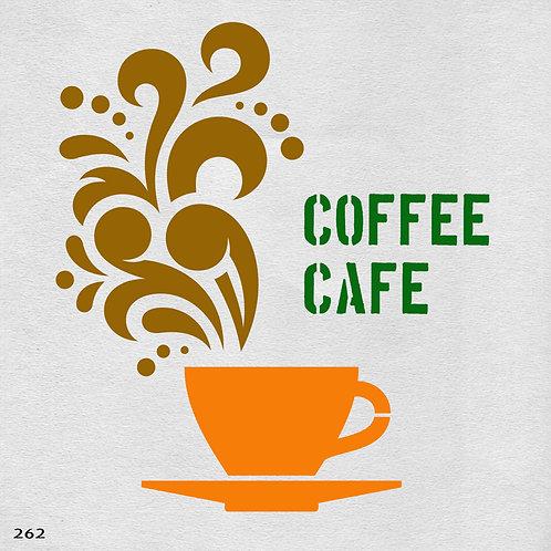 262 שבלונה כוס קפה מהביל בסגנון גרפי