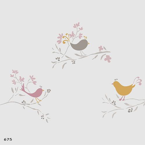 675 שבלונה ציפורים על ענפים