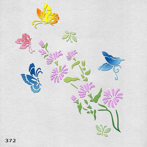 372 שבלונה פרחים ופרפרים