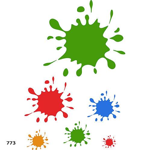 """773 שבלונת """"שפריצים"""" / התזות של כתמי צבע"""