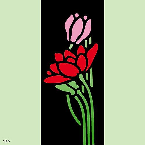 126 שבלונה פרחים בסגנון ארט דקו