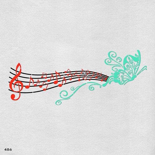 486 שבלונה פרפר וחמשת תווים
