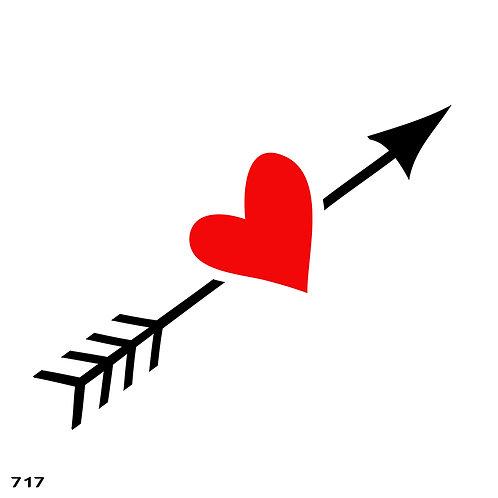 717 שבלונה חץ עם לב