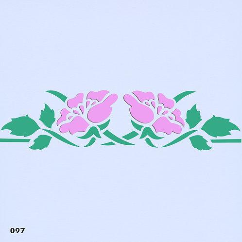 097 שבלונה בורדר פרחים