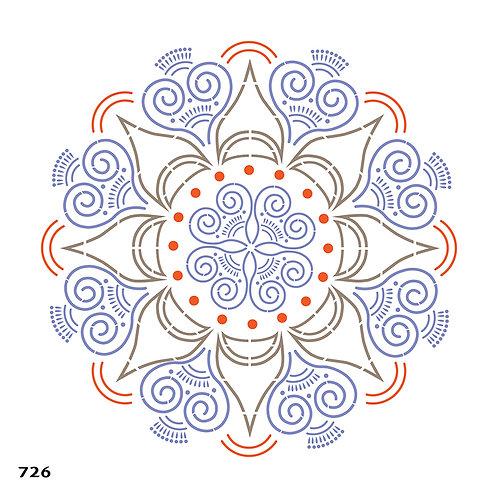 726 שבלונה מנדלה בסגנון הודי