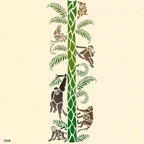 358 שבלונה קופים על עץ