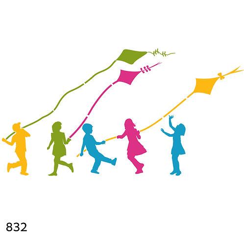 832 שבלונה ילדים ועפיפונים