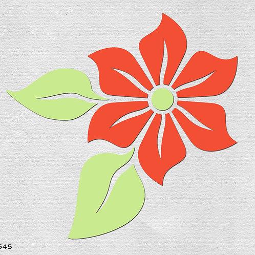 545 שבלונה פרח עם עלים בסגנון גרפי