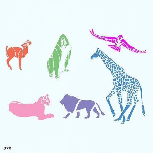 370 שבלונת חיות (ג'ירפה, אריה, לביאה, קוף, ציפור, איילה)