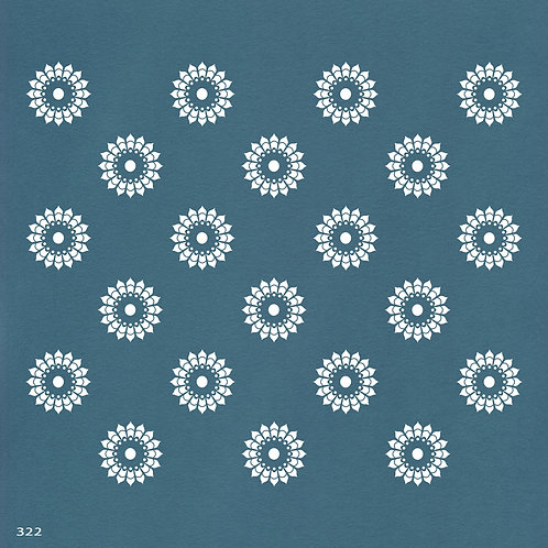 322 שבלונה טפט בדוגמת פרחים דמויי מנדלה