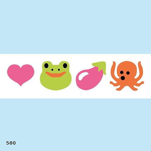 580 שבלונה בורדר חיות ירקות ולבבות