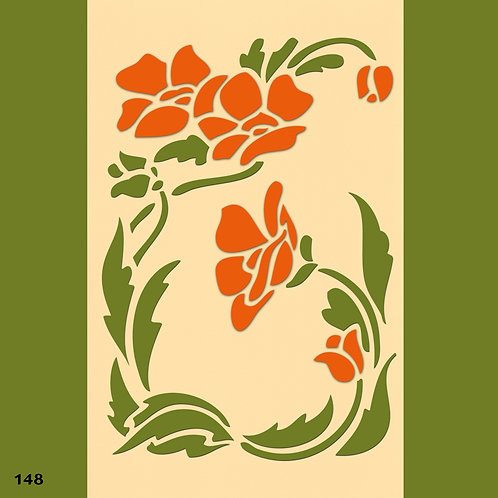 148 שבלונה פרחיםבסגנון ארט דקו