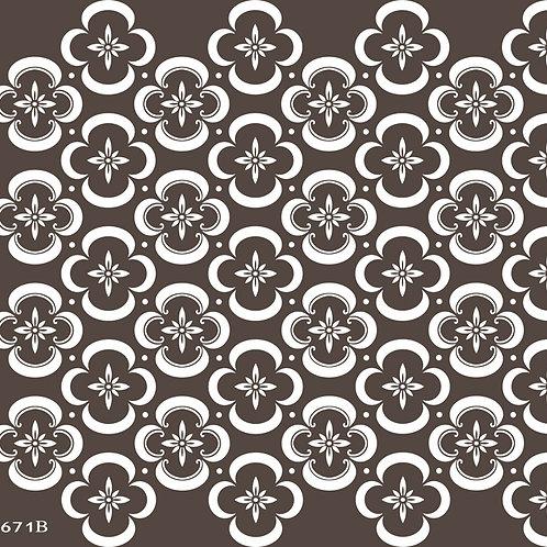 671 שבלונה טפט בדוגמת פרחים בסגנון גאומטרי