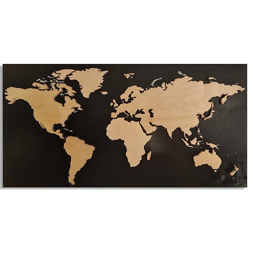 2401010 מפת העולם - תבליט מעץ