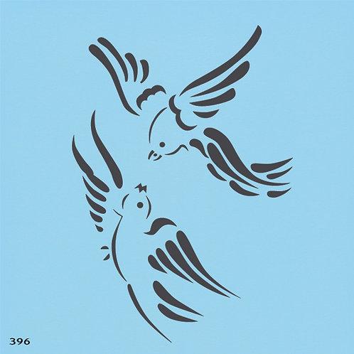396 שבלונה זוג ציפורים במעוף