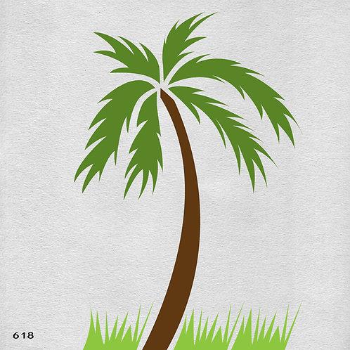 618 שבלונה עץ דקל ודשא