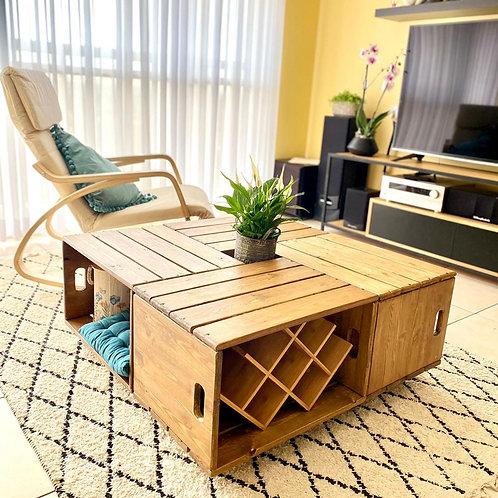 2501001 שולחן עץ עשוי 4 ארגזי עץ - מודולרי
