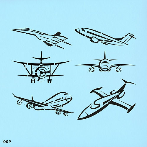 009 שבלונה מטוסים מסוגים שונים