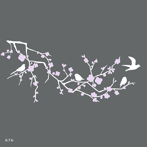 676 שבלונה ענף פורח עם ציפורים בסגנון יפני