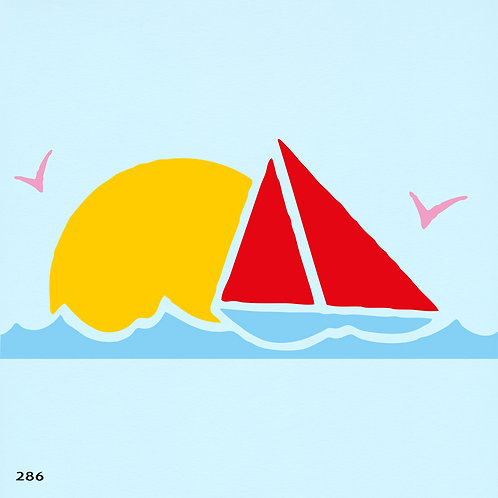 286 שבלונה סירת מפרש בשקיעה