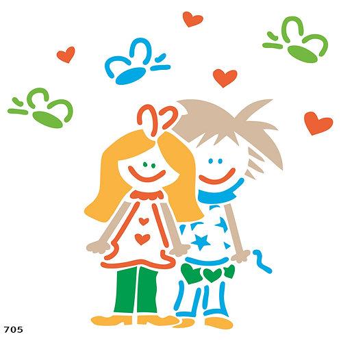 705 זוג ילדים פרפרים ולבבות