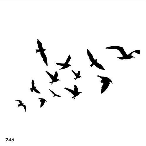 746 שבלונה להקת ציפורים במעוף
