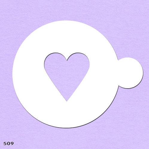 509 שבלונה ליצירת דוגמאות בקפה ובעוגות בצורת לב