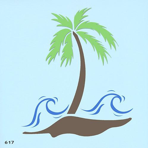 617 שבלונה עץ דקל וגלי ים