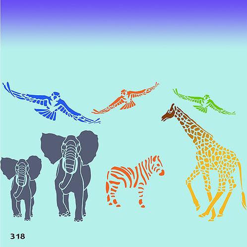 318 שבלונה ספארי (פילים, זברה, ג'ירפה וצפרים)
