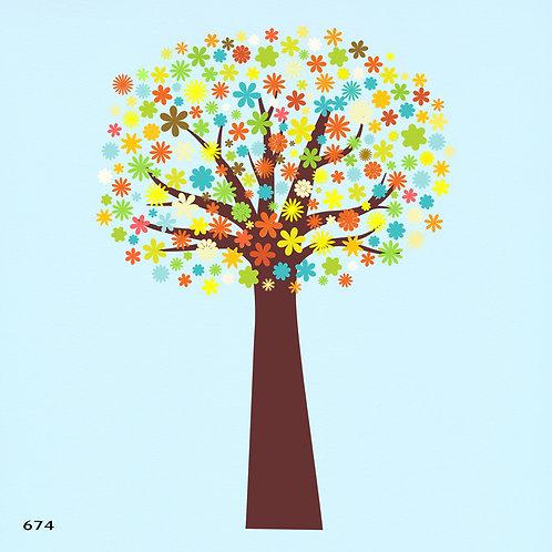 674 שבלונה עץ עטור פרחים