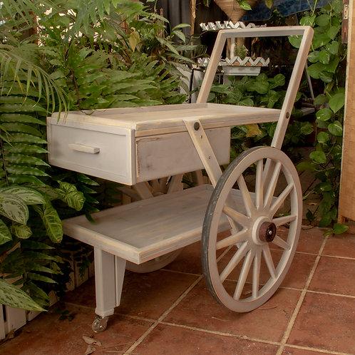 2501016 עגלת קפה/נשיאה/לבית ולגינה בעלת גלגלי עץ