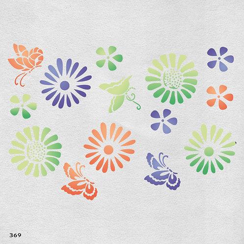 369 שבלונה פרחים ופרפרים