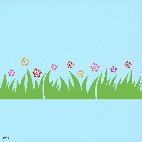 596 שבלונה בורדר דשא ופרחים