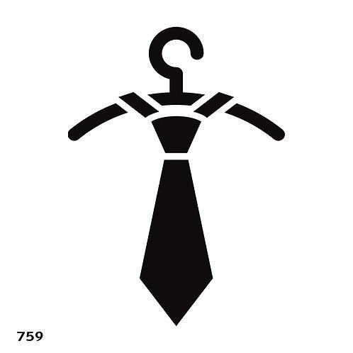 759 שבלונה עניבה תלויה על קולב