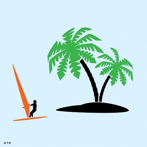 614 שבלונה עצי דקל וגולש רוח
