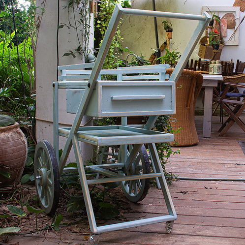 3501002 עגלת הגשה/עגלת קפה/נשיאה/לבית ולגינה בעלת גלגלי עץ