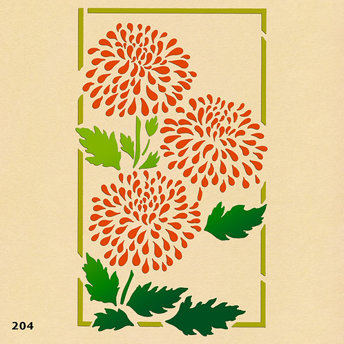 204 שבלונה פרחים במסגרת