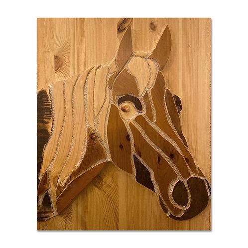 2401005 תבליט ראש סוס עשוי חלקי עץ בגוונים שונים